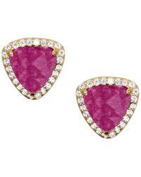 Rachael Ryen - Trillion Pave Earrings Magenta Jade - Lyst