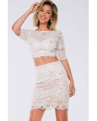 Jovani - Crystal Beads And Lace Embellishments Bateau Two Piece Short Dress Jvn - Lyst