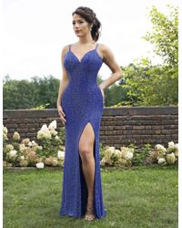 c67e5677a4c1 Primavera Couture - 3253 Lattice Textured Strappy Sheath Gown - Lyst