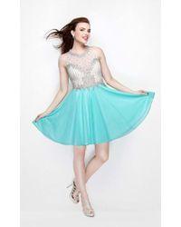 Primavera Couture - Sequined Halter Neck Short A-line Dress - Lyst