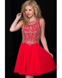Jovani - Elegant Cocktail Dress In Jeweled Bodice Jvn - Lyst