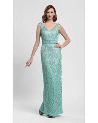 Sue Wong - N4110 Ribbon Embellished Cowl Evening Dress - Lyst