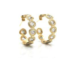 Trésor - Raw Organic Diamond Slice & Colorless Brilliant Diamond (. Cts) Hoop Earrings In K Yellow Gold - Lyst