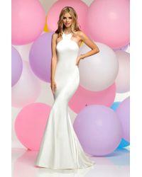 Zoey Grey - High Halter Jersey Sheath Gown 30816 - Lyst