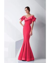 387676b0faf Mnm Couture - G0782 Folded Off-shoulder Mermaid Gown - 1 Pc Coral In Size