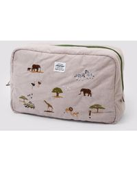 Weekend(er) - Safari Embroidered Linen Pouch - Lyst