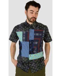 Rough & Tumble - Block Shirt Batik Print Navy & Green - Lyst