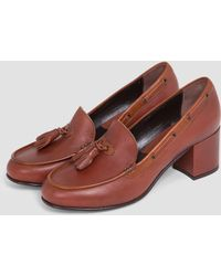 G.H. Bass & Co. - Chic Stella Heel Shoes Mid Brown And Tan - Lyst