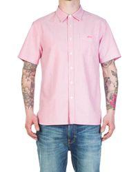 Stussy - Classic Oxford Shortsleeve Shirt Pink - Lyst