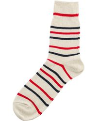 Anonymous Ism | Socks Re Cotton Border Three Quarter Red/navy | Lyst