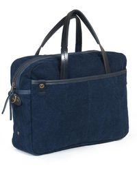 Bleu De Chauffe - Business Bag Report 2 Canvas And Leather Indigo - Lyst