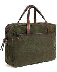 Bleu De Chauffe - Business Bag Report 2 Canvas Khaki Foncé - Lyst
