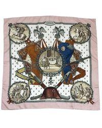 Hermès - Vintage Pink & Brown Napoleon Silk Scarf - Lyst