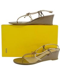 d3a0208ccf0 Fendi - Tan Leather Strappy Wedges - Lyst