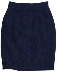 Chanel - Navy Blue Tweed Skirt - Lyst
