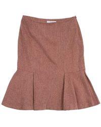 Carolina Herrera - Orange Silk & Wool Tweed Skirt - Lyst