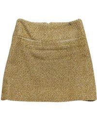 Chanel - Tan & Gold Tweed Skirt - Lyst