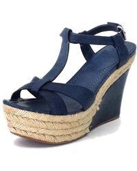 Miu Miu - Deep Teal Leather Espadrille Wedge Sandals - Lyst