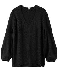 Cuyana Oversized Ribbed V-neck Sweater - Black