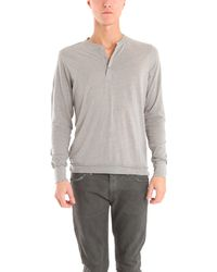 Blue&Cream Long Sleeve Henley In Grey - Lyst