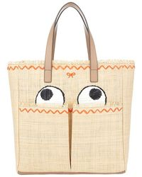 Anya Hindmarch Nevis Eyes Embroidered Straw Tote Bag - Lyst