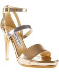 Jimmy Choo Gold Dose Sandals - Lyst