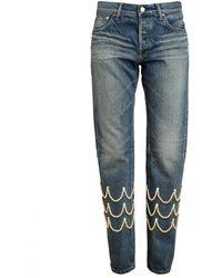 Tu Es Mon Tresor Pearl Embellished Boyfriend Jeans - Lyst