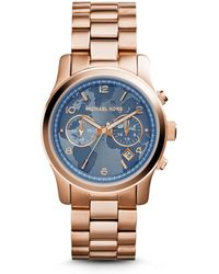 Michael Kors Watch Hunger Stop Runway Rose Gold-tone Stainless Steel Watch - Lyst