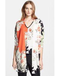 Etro Colorblock Floral Print Silk Cardigan - Lyst