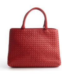 Bottega Veneta Red Intrecciato Nappa Milano Bag - Lyst