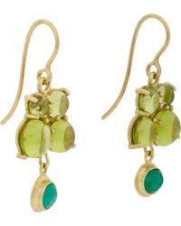 Judy Geib Emerald Peridot  Gold Drop Earrings - Lyst