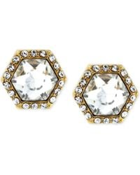 Vince Camuto - Gold-tone Hexagon Crystal And Pave Stud Earrings - Lyst