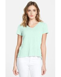 Eileen Fisher Organic Cotton V-Neck Tee - Lyst