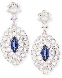 Sutra - Rose-cut Diamond And Blue Sapphire Drop Earrings - Lyst