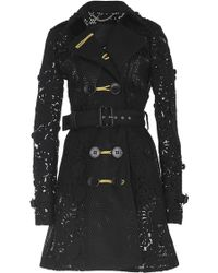 Burberry | Black Lace And Mesh Belted Trench Coat | Lyst