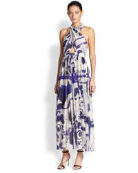 Jean Paul Gaultier Printed Halter Maxi Dress - Lyst
