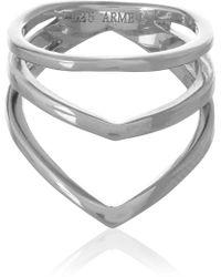 Arme De L'amour Chevron Silver Phalanx Ring - Lyst
