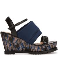 Markus Lupfer - Brocade-panelled Wedge Sandals - Lyst