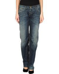 Carhartt Blue Denim Pants - Lyst