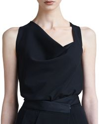 Donna Karan New York Satin-trim Capelet Top - Lyst