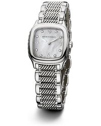 David Yurman Thoroughbred 25Mm Stainless Steel And Sterling Silver Quartz Watch With Diamonds - Lyst