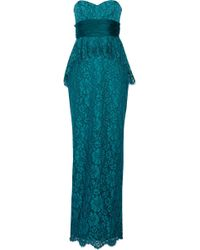 Notte By Marchesa Lace Peplum Gown - Lyst