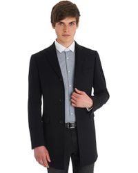 DKNY Slim Fit Black Herringbone Overcoat - Lyst