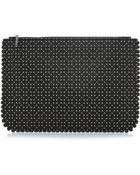 Tabitha Simmons Perforated Leather Zip-top Clutch - Lyst