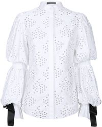 Alexander McQueen Broderie Anglaise Puff Sleeve Blouse - Lyst