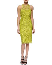 Lela Rose Cutout-Back Floral Lace Sheath Dress - Lyst