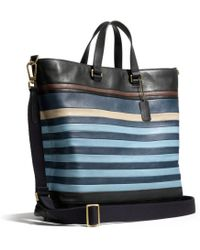 Coach Bleecker Day Tote In Bar Stripe Leather - Lyst