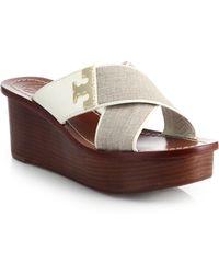 Tory Burch Culver Linen Wedge Sandals - Lyst