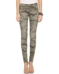True Religion Halle Mid Rise Skinny Jeans - Destroyed Camo green - Lyst