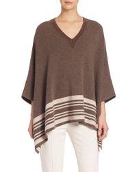 Vince | Border Stripe Wool-cashmere Poncho | Lyst
